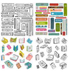 books library reading objects collection vector image