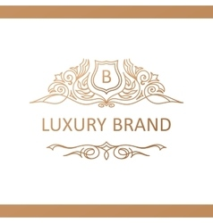 Calligraphic Luxury logo Emblem elegant decor vector image