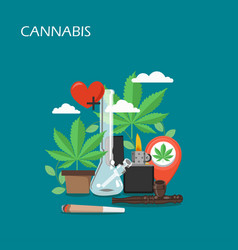 cannabis set flat style design vector image