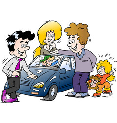 cartoon of a family looking at a new auto car vector image