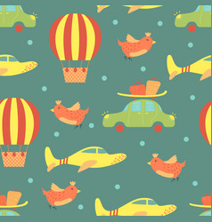 cartoon seamless pattern with planes and air vector image