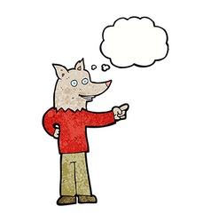 cartoon wolf man pointing with thought bubble vector image