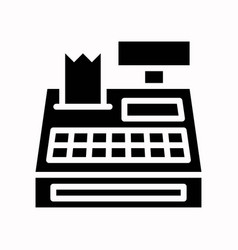 Cash register black friday related solid icon vector