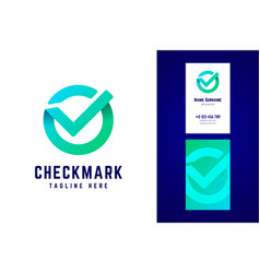 check mark logo and business card template in vector image