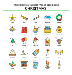 Christmas flat line icon set - business concept vector