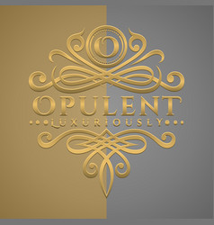 classic luxurious letter o logo with embossed vector image