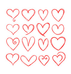 collection cute hand drawn hearts design vector image
