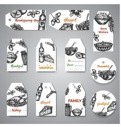 Collection of hand drawn tags for thanksgiving day vector