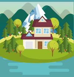Colorful houses design vector