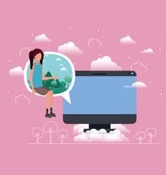 Computer desktop with woman in speech bubble vector