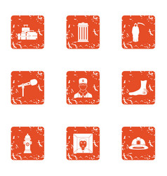 Conference icons set grunge style vector