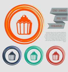 cupcake muffin icon on the red blue green orange vector image