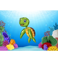 Cute Turtle with beautiful underwater world vector
