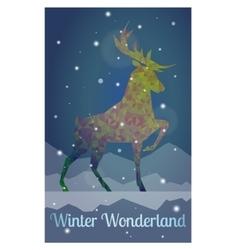 deer in snowy winter night vector image