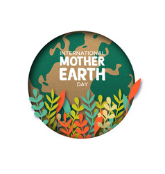 earth day card of paper cut leaves and world map vector image