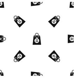 Eco food bag pattern seamless black vector