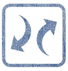 Exchange arrows fabric textured icon vector
