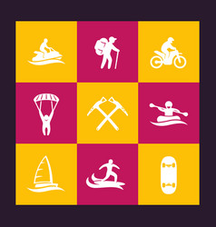 extreme outdoor activities icons set vector image