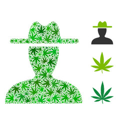 Farmer collage of weed leaves vector