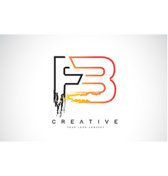 Fb f b creative modern logo design with orange vector