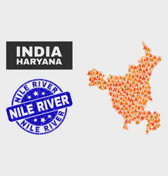 Fired mosaic haryana state map and scratched nile vector