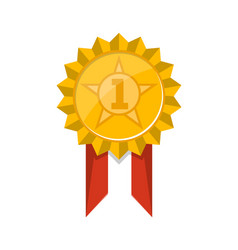 First place golden trophy badge with ribbon vector