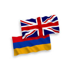 Flags great britain and armenia on a white vector