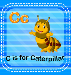 flashcard letter c is for caterpillar vector image