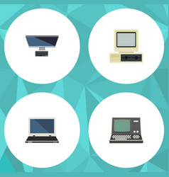 Flat icon computer set of computer technology vector