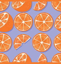 fruit seamless pattern oranges with shadow vector image