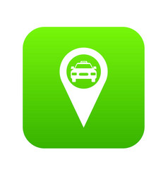 Geo taxi icon digital green vector