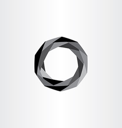 geometric black polygon circle abstract background vector image