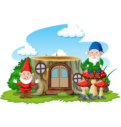 Gnomes standing beside stump house cartoon vector