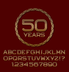 gold letters numbers round frame anniversary logo vector image