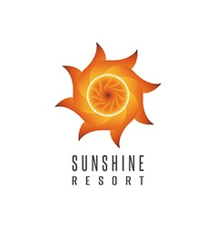 Gradient sun logo resort mockup abstract creative vector