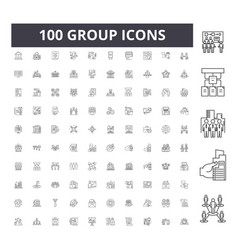group line icons signs set outline vector image