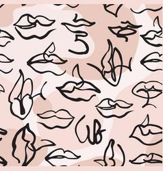 Hand drawn geometrical lips for trendy fashion vector