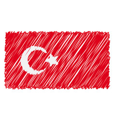 Hand drawn national flag of turkey isolated on a vector