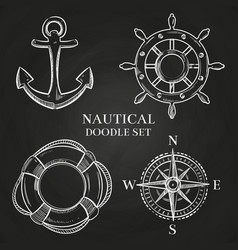 handwheel anchor compass and lifebuoy vector image