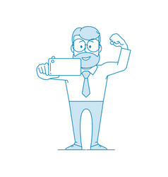 happy man office worker makes selfie vector image