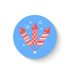 Holiday firework icon with rockets or firecrackers vector