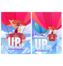 Hot air balloons fest cartoon posters tourism vector