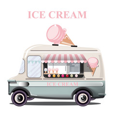 Ice cream stand vehicle summer background vector