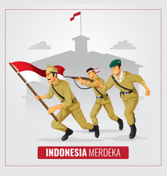 Indonesia independence day with hero background vector