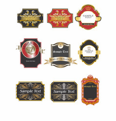 Labels gold red black 2 vector