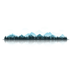 landscape with silhouettes deer fox eagles vector image