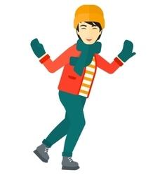 Man ice skating vector image