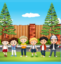 many kids standing in park vector image