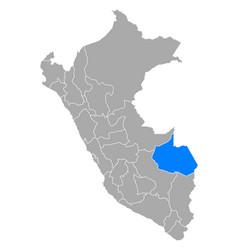 Map madre de dios in peru vector