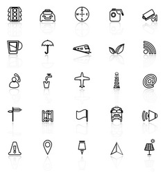 Map sign line icons with reflect on white vector image
